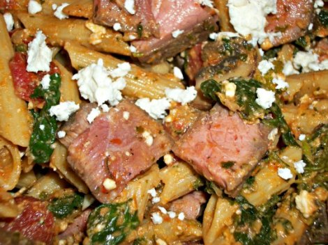 Sun-dried Tomato Pesto and Steak Pasta