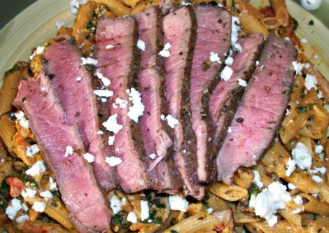 Sun Dried Tomato Pasta and Steak