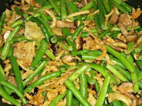 greenbeans, french fried onions and mushrooms