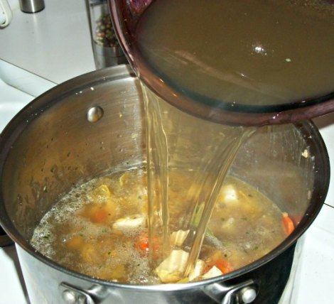 Pouring Chicken and Veggie Stock into Pot