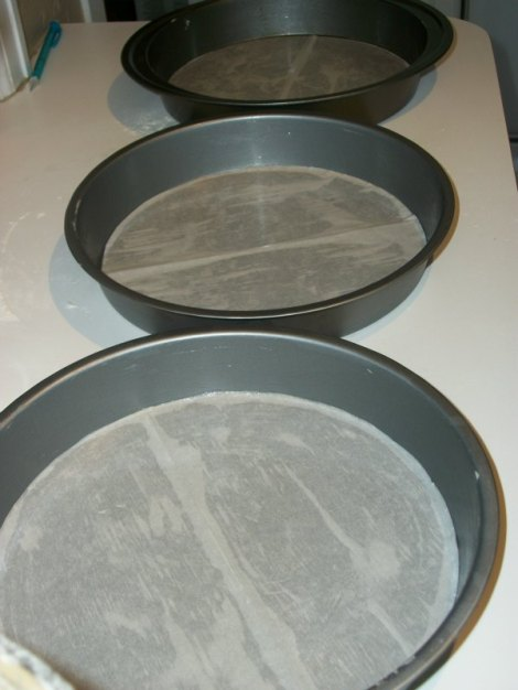 Cake Pans Lined Parchment Paper and Buttered