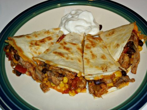 Cut Chicken and Black Bean Quesadilla