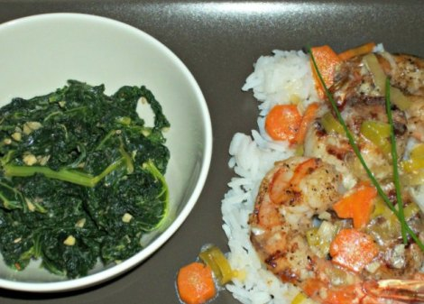 Garlic and Ginger Kale with Sesame Seeds and Shrimp and Scallops with Ginger and Leek Sauce