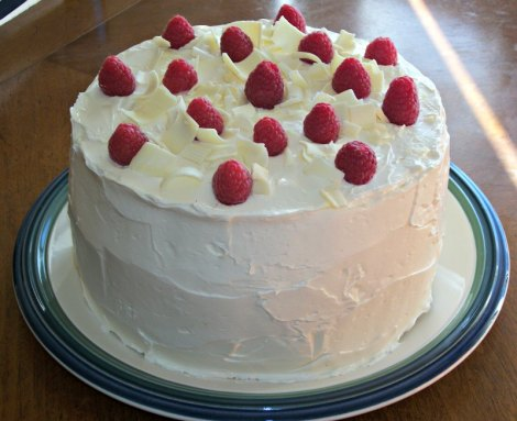 Side View of Uncut White chocolate Cake