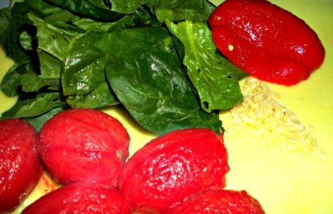 Tomatoes, Spinach Roasted Red Peppers