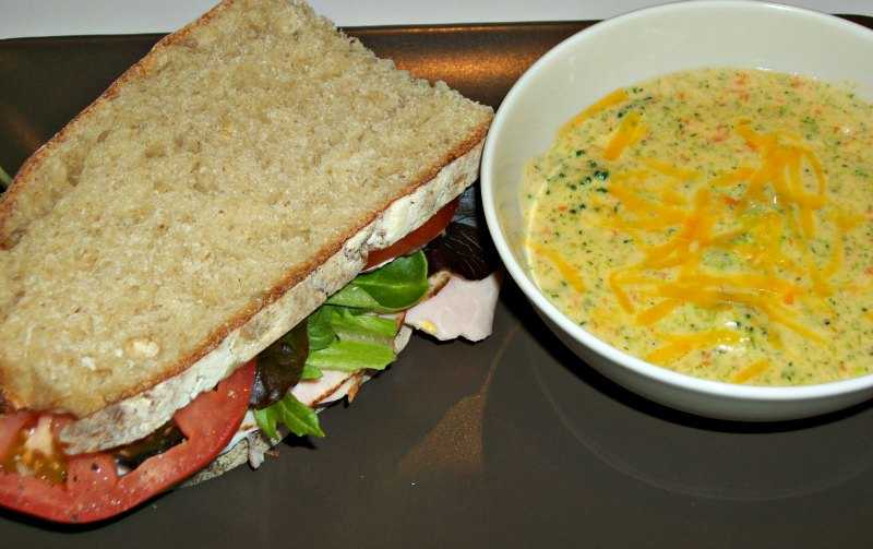 Broccoli and Cheese Soup with Turkey Sandwich
