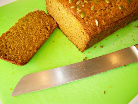 Slicing the Butternut Squash Olive Oil Bread