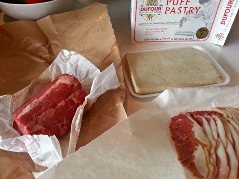 Ingredients for Beef Wellington