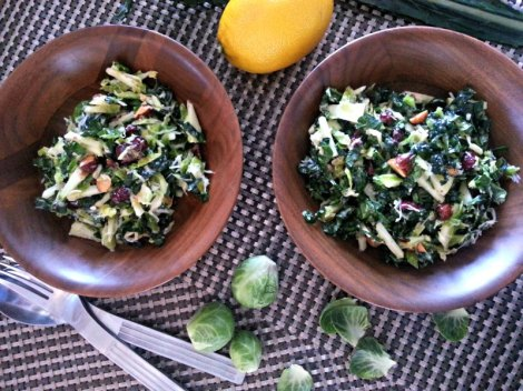 Raw Kale and Brussel Sprout Salad