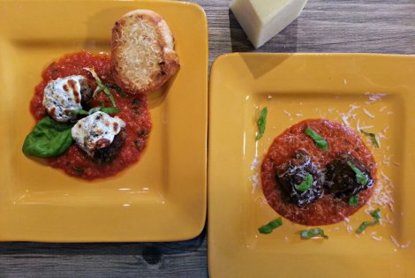 "Eggplant Parm and Roasted Red Pepper Coulis ""Meatballs"""