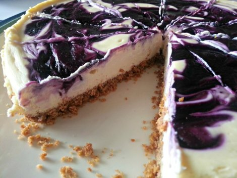 Inside of Blueberry Goat Cheese Cheesecake