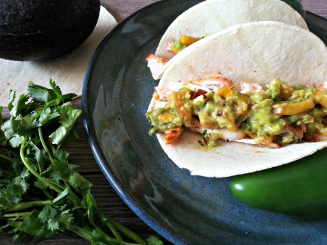 Blackened Chicken Tacos with Grilled Peach and Avocado Salsa