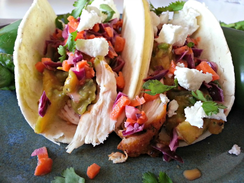 Blackened Chicken Tacos with Grilles Peach & Avocado Salsa, Asian Slaw and Goat Cheese