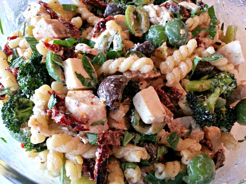 Close up of Grilled Pasta Salad
