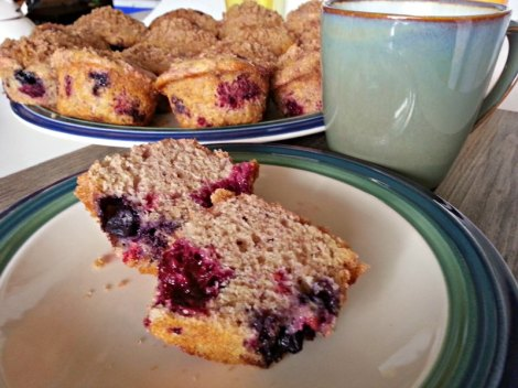 inside of tripple berry muffin