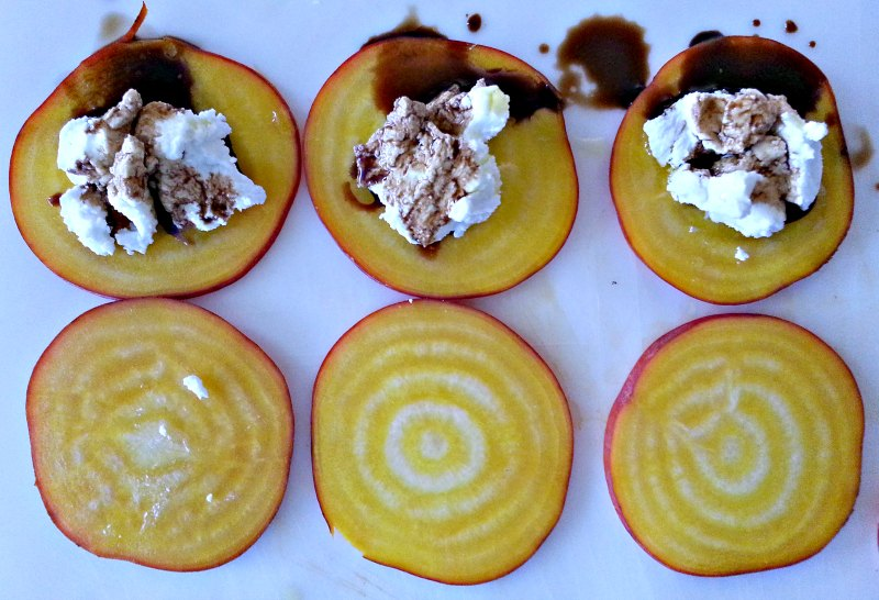 Golden beets with goat cheese