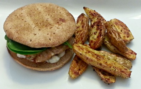 Greek Turkey Burgers with Fingerling Fries