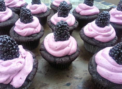 Blackberry filled Dark Chocolate Cupcakes with Blackberry Swiss Meringue Buttercream