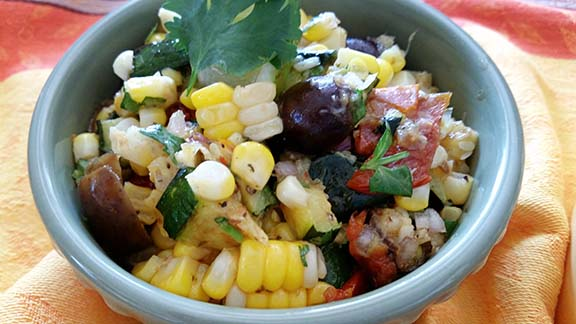 Summer Salad with Grilled Zucchini & Corn