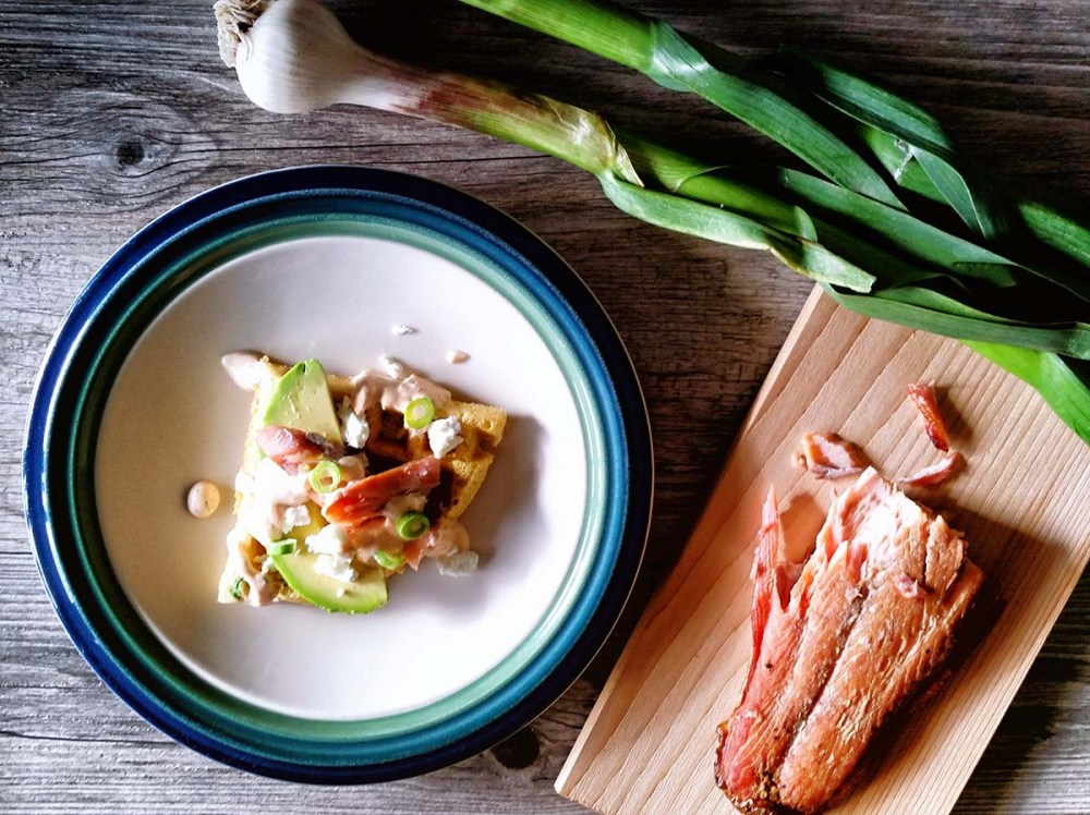 Smoked Salmon, Avocado and Sriracha Aioli on Green Chili Cornbread Waffles