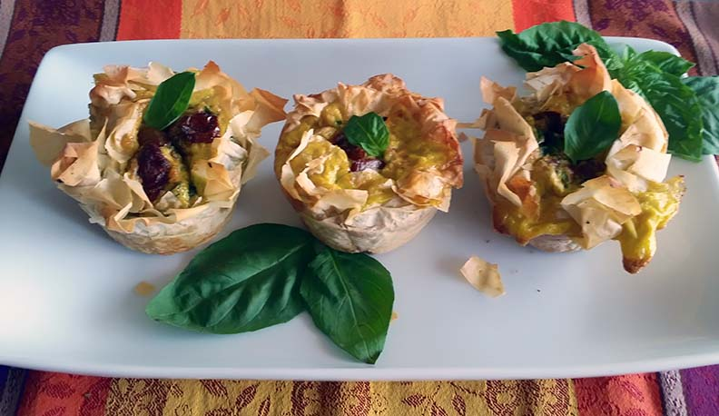 Spinach, Feta, Basil and Sundried Tomatoes Souffles