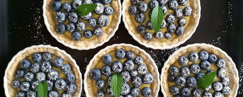 Blueberry topped lemon curd tarts