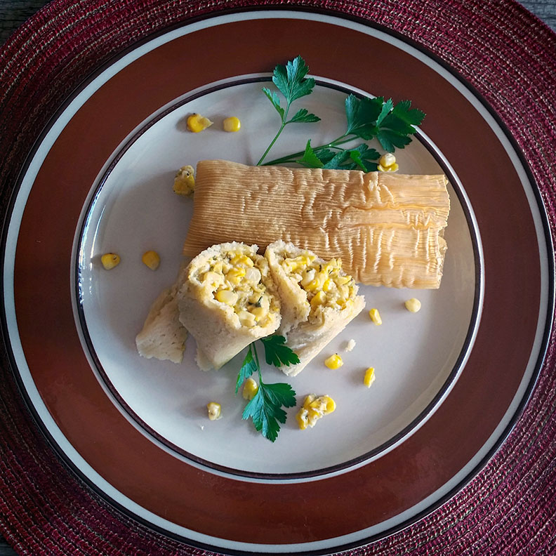 Sweetcorn Tamales with Roasted Green Chilies