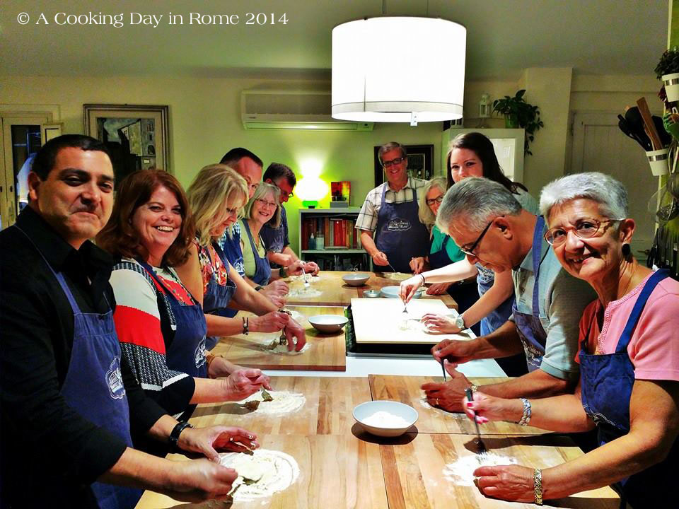 Our cooking class group. Just starting to make the pasta dough. Photo courtesy of Chef David.