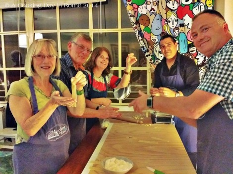 Showing off our pasta making skills.  Photo courtesy of Chef David.