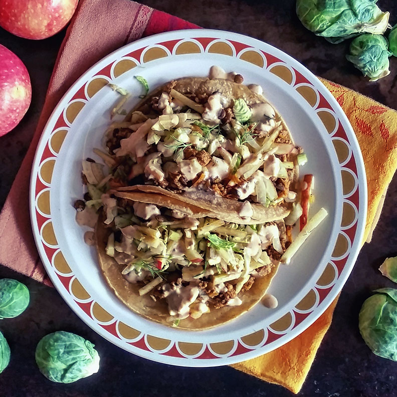 Turkey and Lental Tacos with Apple Fennel Slaw and Honey Chipotle Aioli