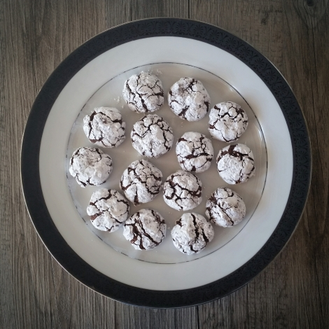 Dark Chocolate, Orange and Almond Crinkle Cookies