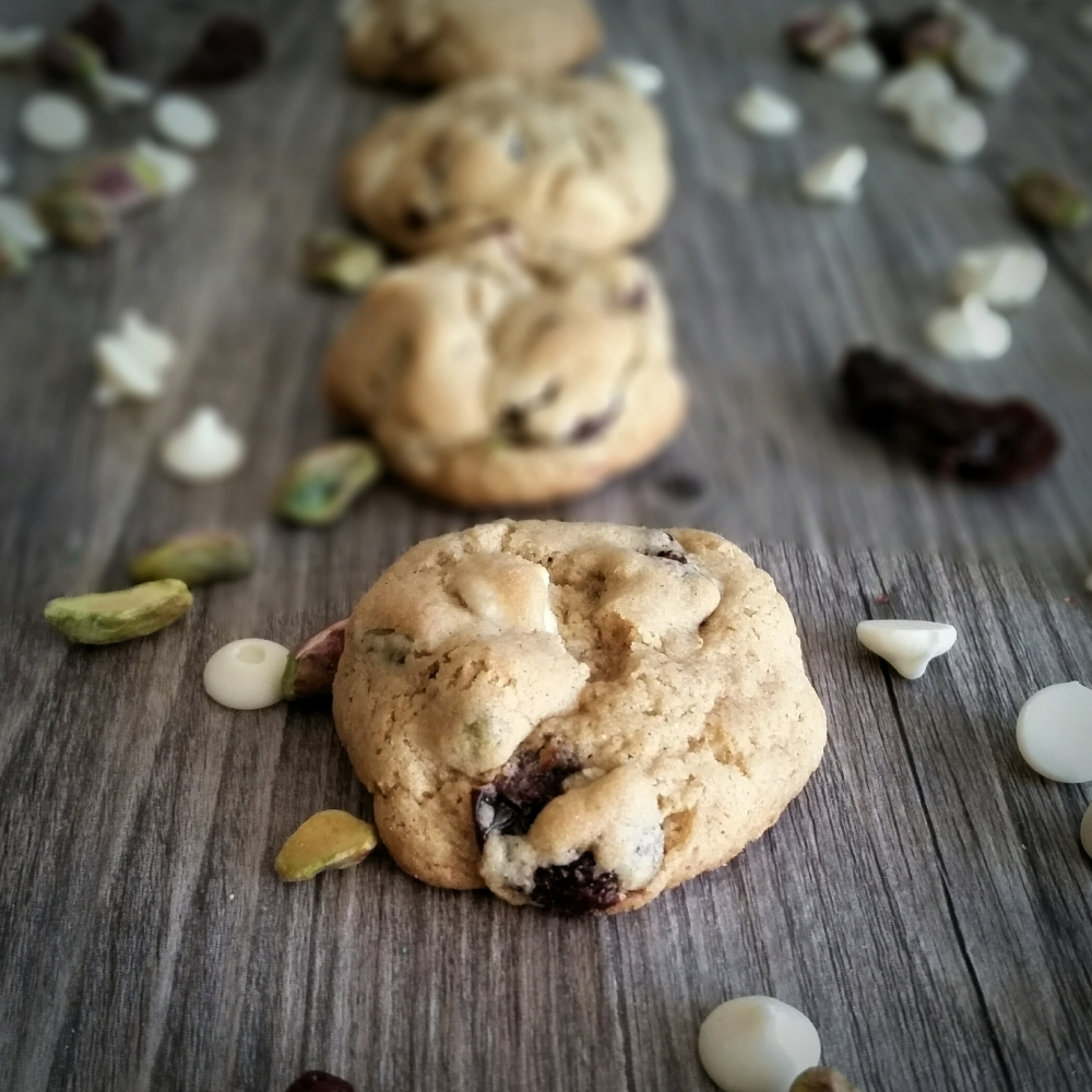 Gluten Free White Chocolate, Pistachio and Dried Cherry Cookies