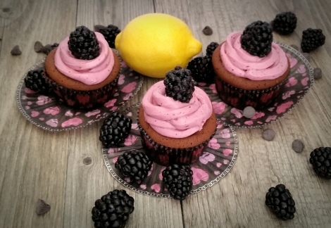 Blackberry-Filled Dark Chocolate Cupcakes with a Blackberry Swiss Meringue Buttercream Frosting