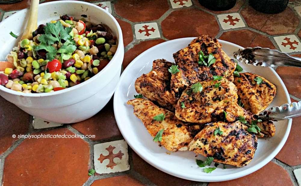 Grilled Chicken with Three Bean Salad