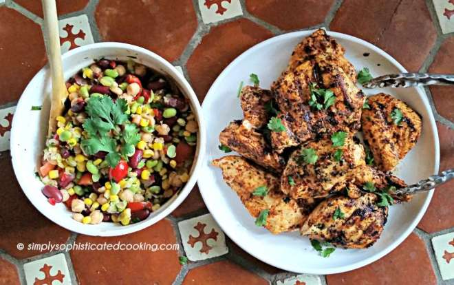 Overhead View of Grilled Chicken with Three Bean Salad