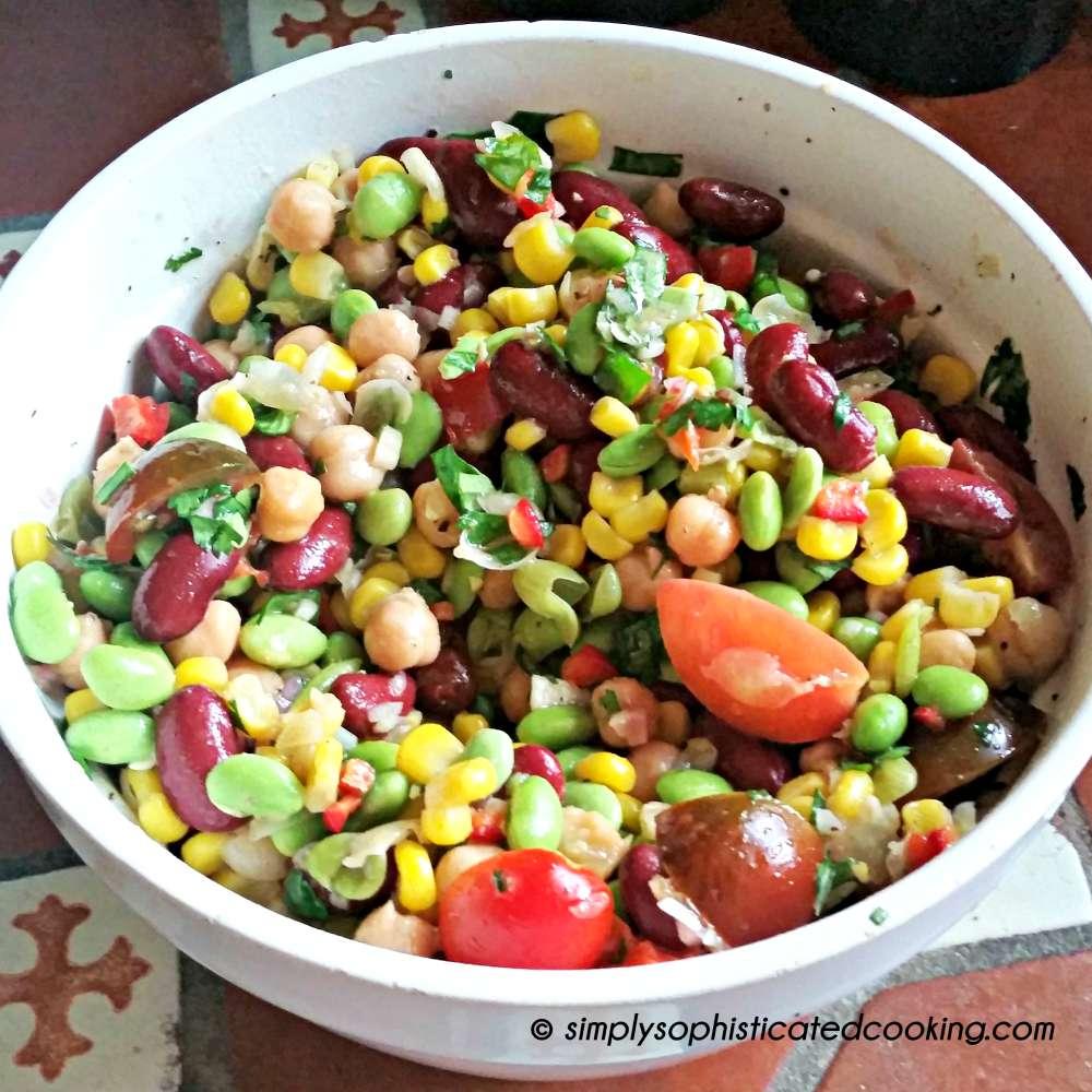 Three Bean Salad with Honey Dijon Lime Dressing