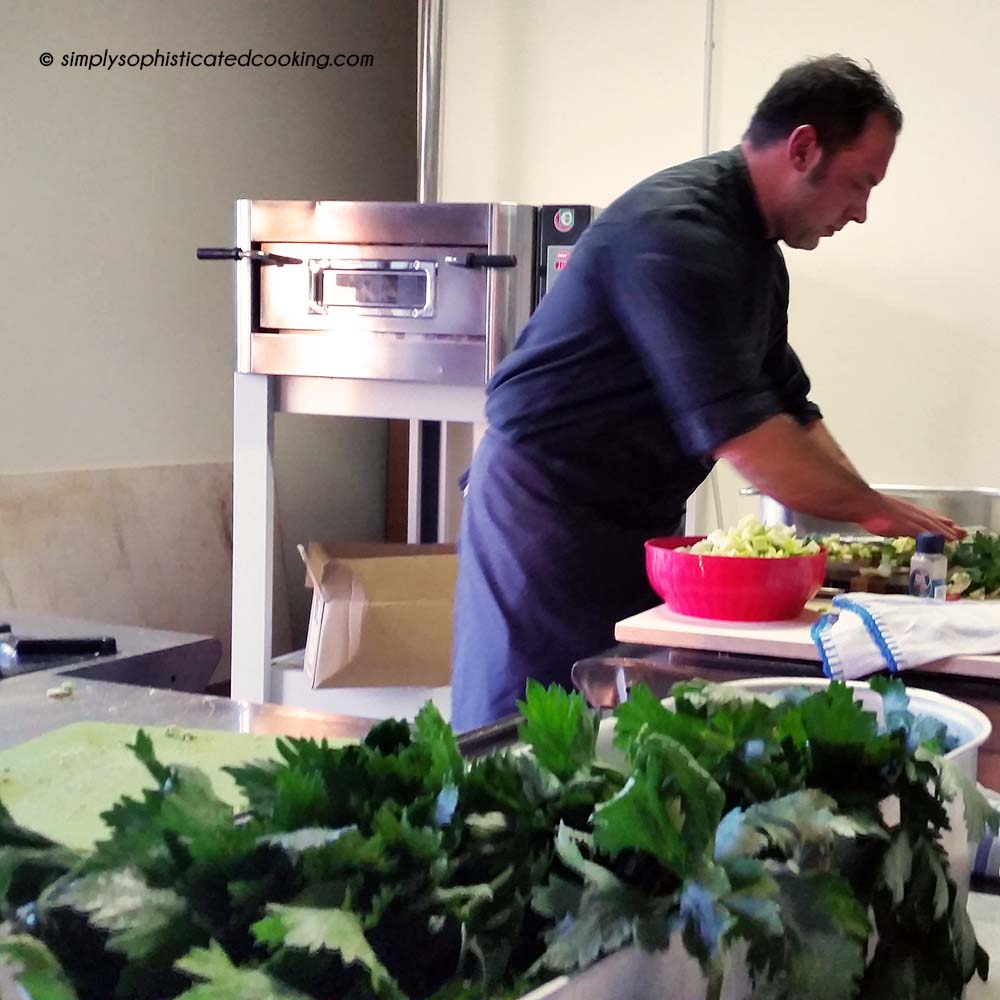 Chef cooking with celery