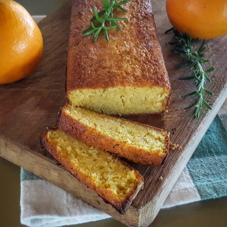 Orange olive oil with rosemary cake, inspired by the fresh rosemary of Casa San Carlo, Italy.