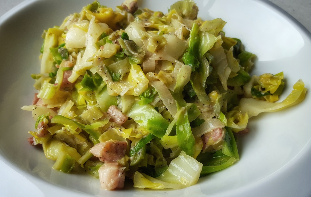 Sauteed Cabbage and Leeks with Pancetta