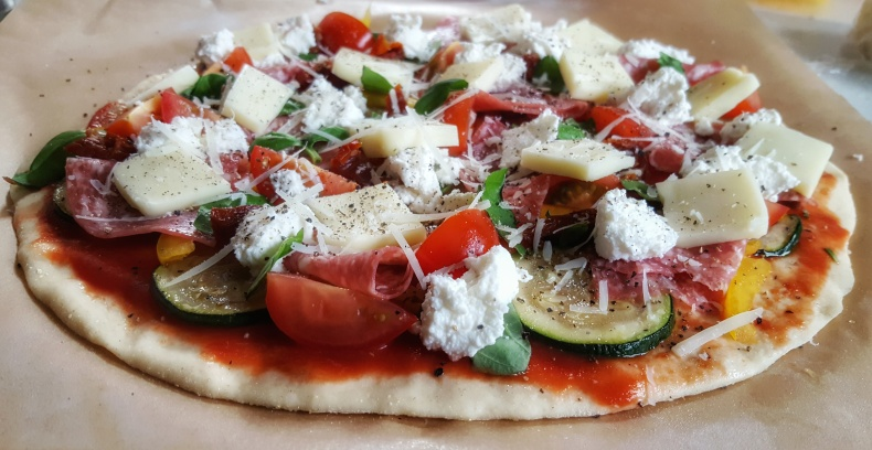 Our homemade pizza using the authentic Italian pizza dough recipe.